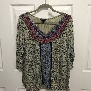 Lucky Brand Pattern Top 3/4 Sleeves